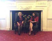 June Picken (left) of Coombe Abbey being interviewed by Sandra Garlickt