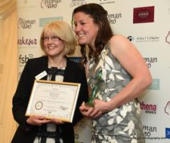 Catherine Wahlberg presenting the Winner, Becki Coombe with her Award in 2017
